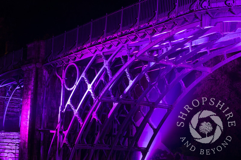A view of the Iron Bridge at Ironbridge, Shropshire, England. It was illuminated as part of the Night of Heritage Light, celebrating UNESCO world heritage sites.