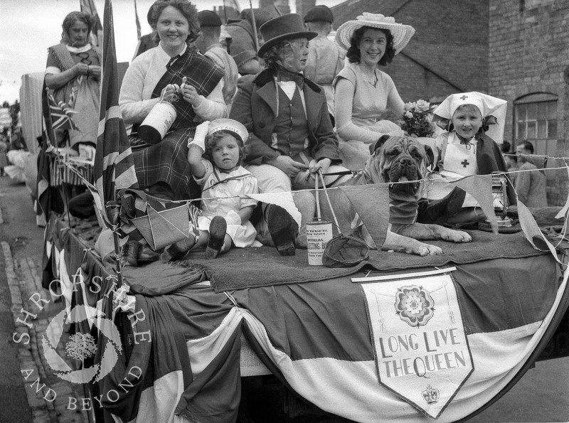 A float in Shrewsbury Road, Shifnal, Shropshire, during the town's carnival procession in the 1950s.