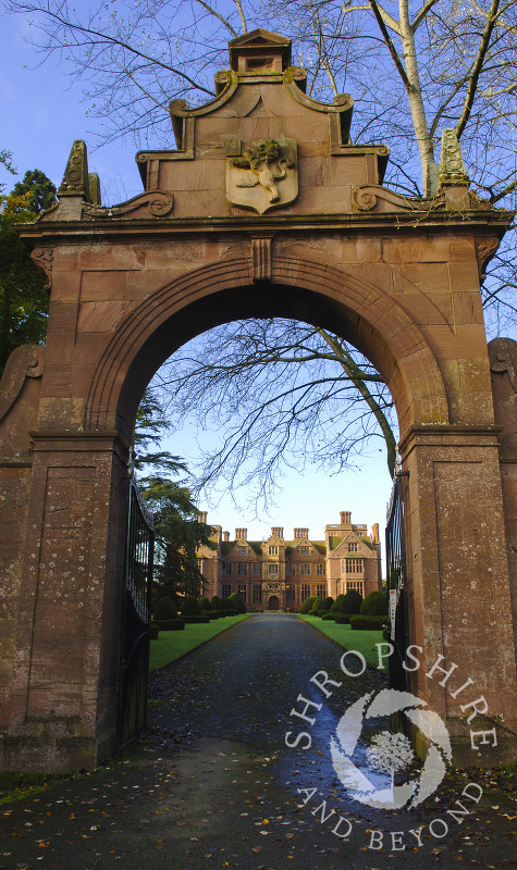 Entrance to Condover Hall, Condover, Shrophire, England.