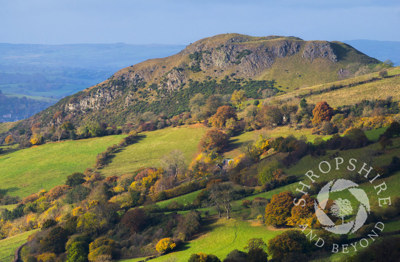 Roundton Hill, in Powys, Wales, seen from Heath Mynd, Shropshire, England.