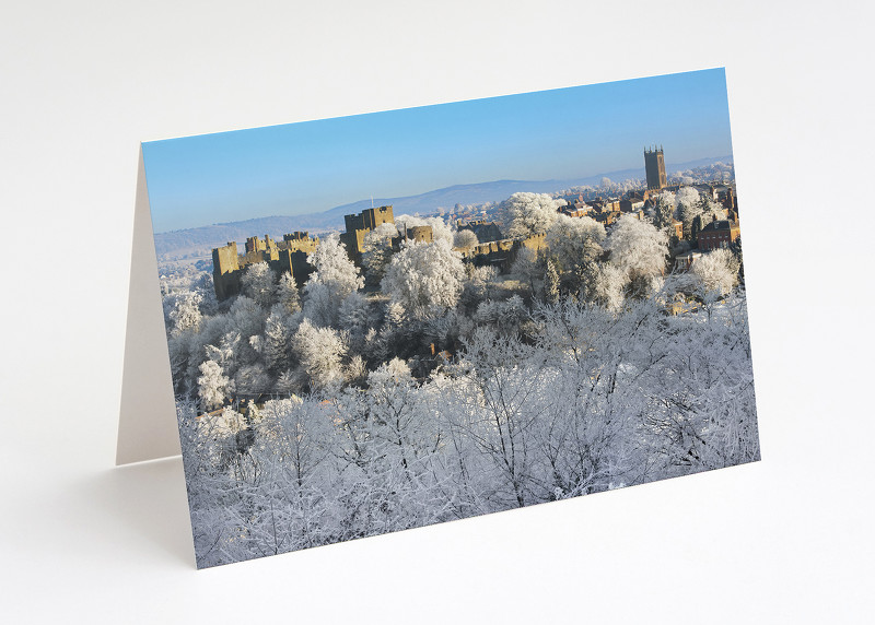 Hoar frost over Ludlow, Shropshire.