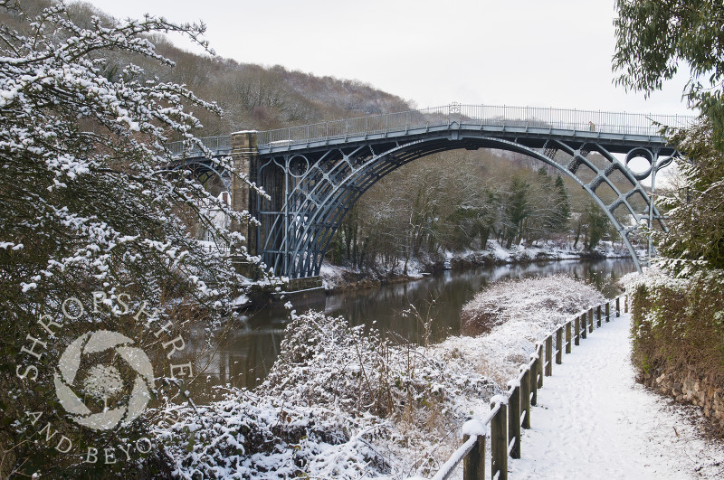 A view of the Iron Bridge in winter at Ironbridge, Shropshire, England.
