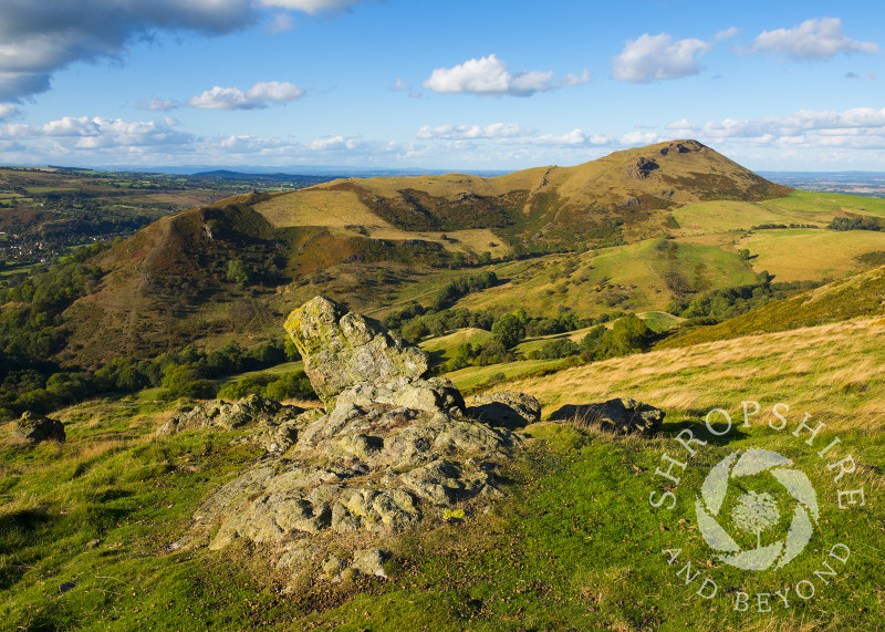 Caer Caradoc seen from Hope Bowdler Hill, Shropshire, England.
