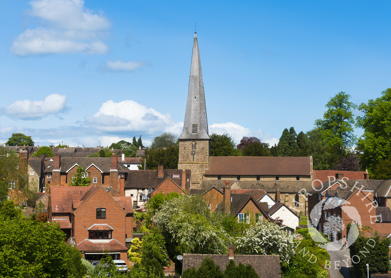 St Mary's Church and the town of Cleobury Mortimer, Shropshire, England.