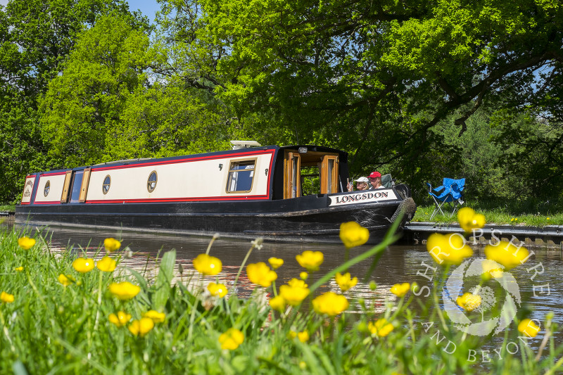 Springtime on the Llangollen Canal at Whitchurch, North Shropshire.