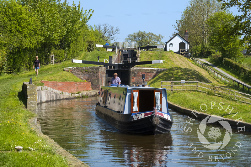 Canal boat on the Montgomery Canal at Frankton Locks, Shropshire.