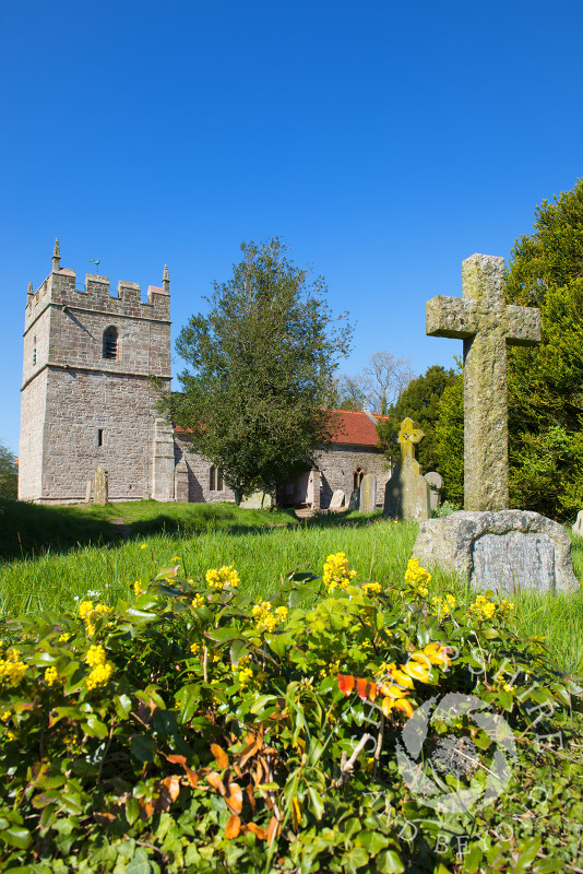 The churchyard at 12th century Holy Trinity Church, Holdgate, south Shropshire, England.
