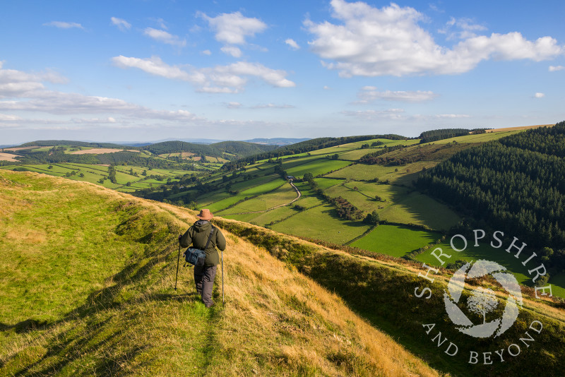 A walker on the ramparts of Caer Caradoc Iron Age hill fort near Chapel Lawn, Clun, Shropshire.