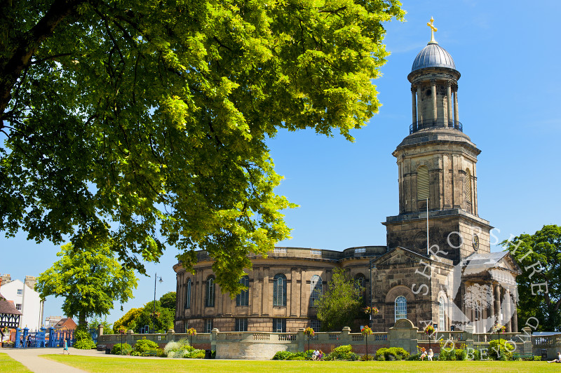 A view of St Chad's Church from the Quarry, Shrewsbury, Shropshire, England.