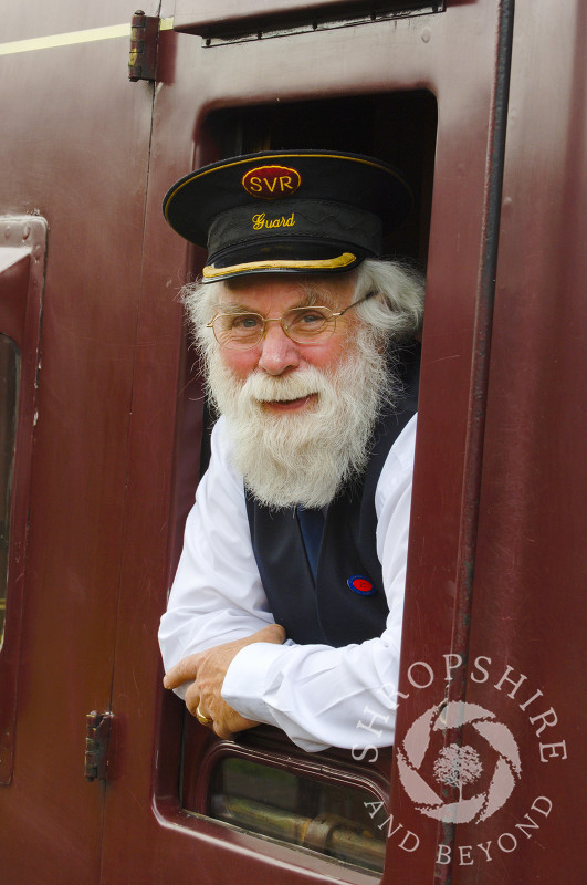 A guard on the Severn Valley Railway at Hampton Loade Station, Shropshire, England.