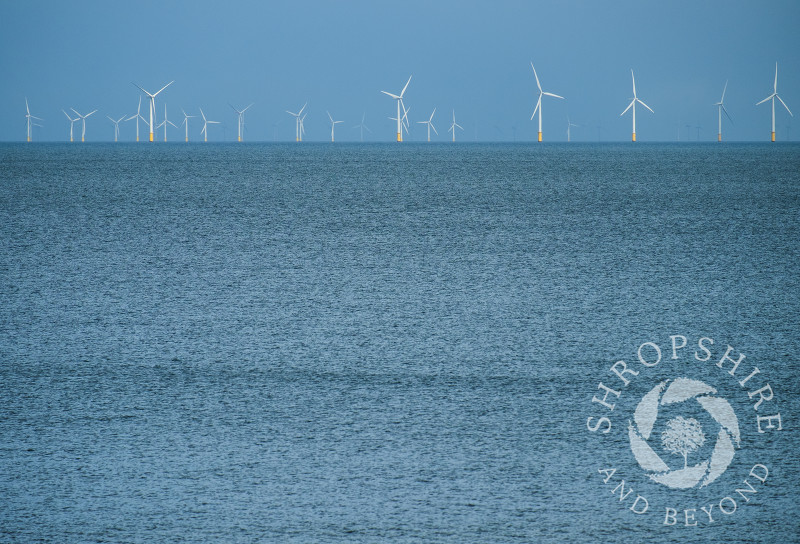 Offshore wind farm in the Irish Sea off the coast of Llandudno, Wales.