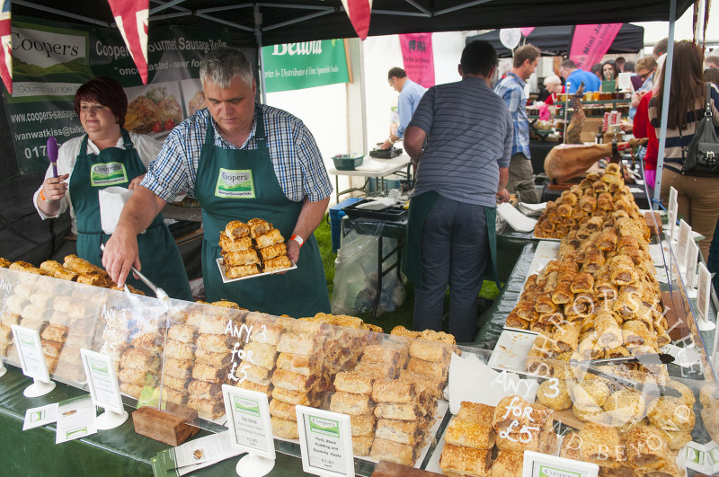 Vendors sell their wares at the Ludlow Food Festival, Shropshire, England.