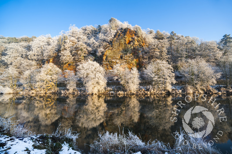 Trees with hoar frost on High Rock reflected in the River Severn at Bridgnorth, Shropshire, England.