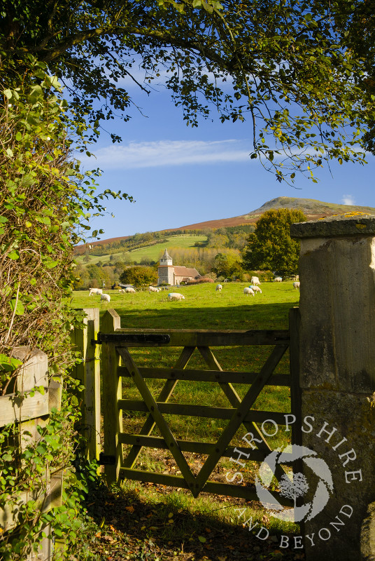 Looking over a gate towards the church of St Mary and Titterstone Clee Hill, Bitterley, Shropshire, England.