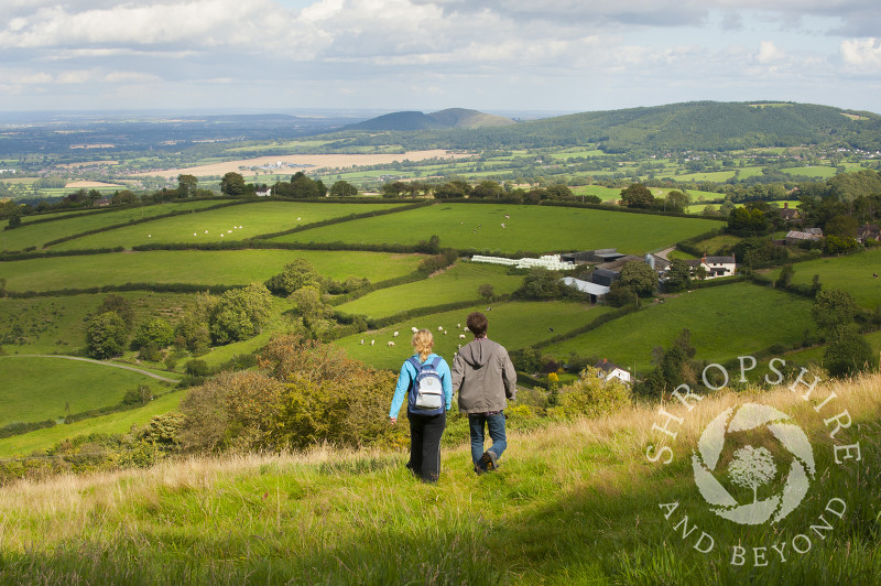 Walkers at Bromlow Callow, Shropshire, England.
