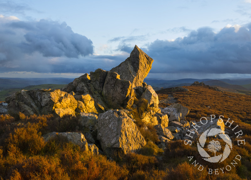 Diamond Rock at sunset on the Stiperstones, Shropshire.