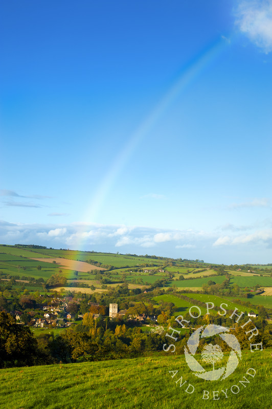 A rainbow over the village of Cardington near Church Stretton in the Shropshire Hills, England.