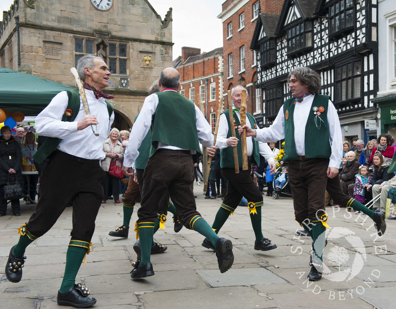 Shrewsbury Morris perform in the Square during the Big Busk, Shrewsbury, Shropshire, England.