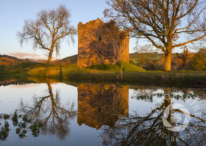 Sunrise at Hopton Castle, near Craven Arms, Shropshire.