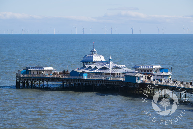 A view of the pier at Llandudno, north Wales, looking towards the offshore wind farm.