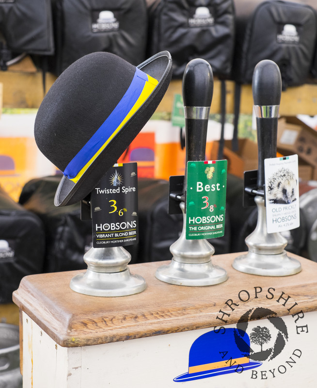Beer pulls on the Hobsons Brewery stand at Ludlow Food Festival, Shropshire.