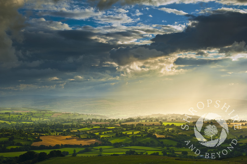 Rain clouds over South Shropshire, seen fron Brown Clee Hill, England.