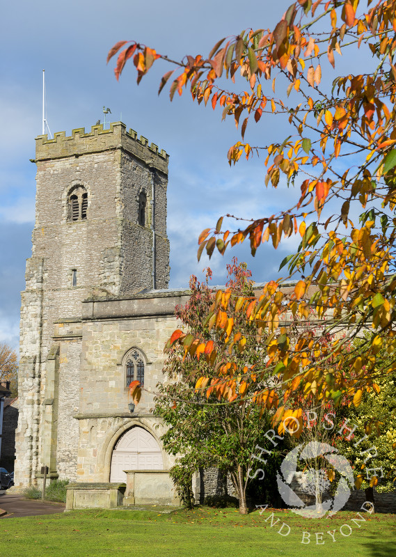 Autumn colour at Holy Trinity Church in Much Wenlock, Shropshire, England.
