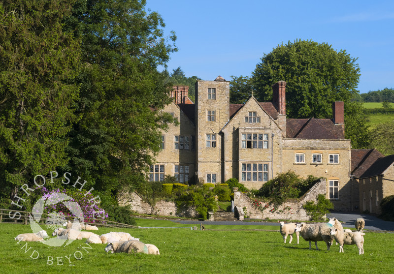 Sheep graze in front of Shipton Hall, near Much Wenlock, Shropshire.