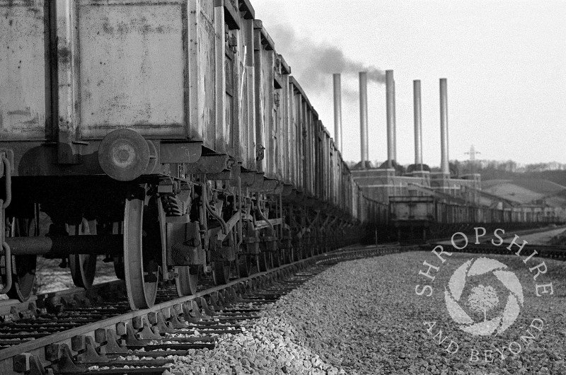 Coal trucks lined up at Ironbridge Power Station in 1967, Shropshire, England.