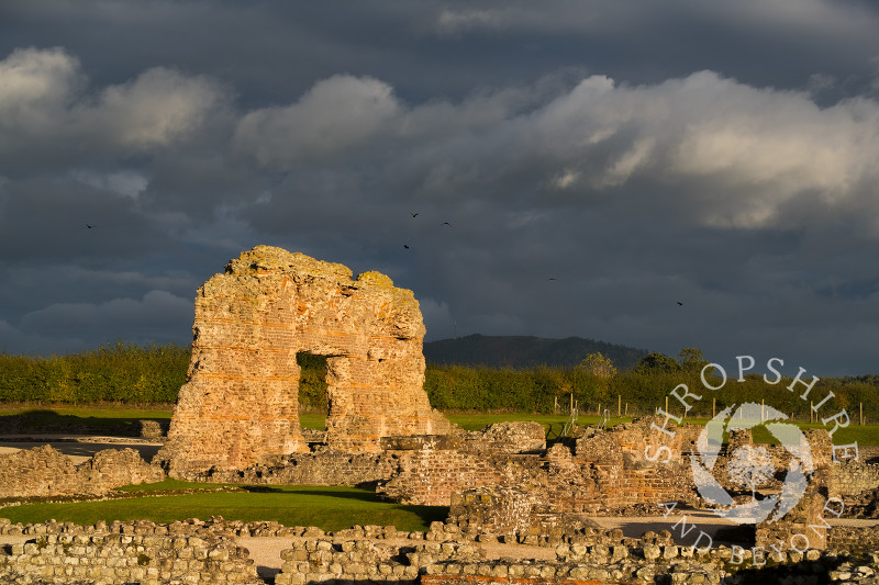 Dramatic autumn light on the remains of the Roman city at Wroxeter (or Viroconium), near Shrewsbury, Shropshire.