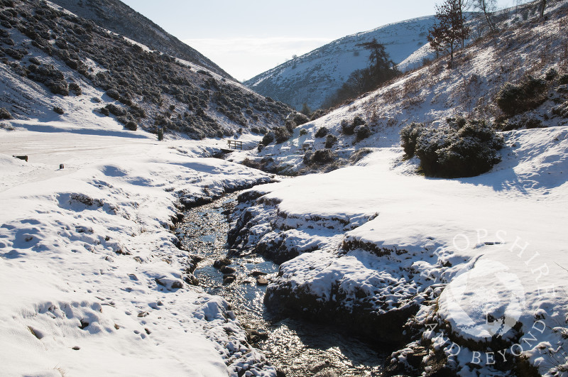 Winter snow in Carding Mill Valley, near Church Stretton, Shropshire, England.
