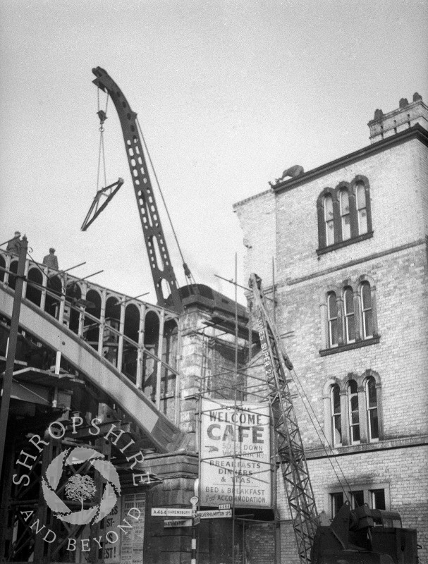 The bridge being dismantled next to the Station Master's House, Shifnal, Shropshire, 1953.