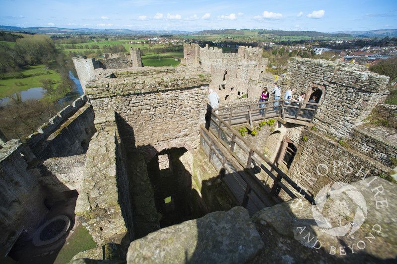 The ruined medieval castle at Ludlow, Shropshire, England.