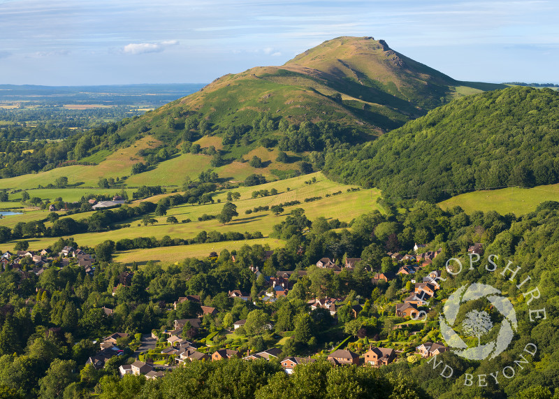 Evening light on Caer Caradoc and Church Stretton, seen from Ragleth Hill, Shropshire.