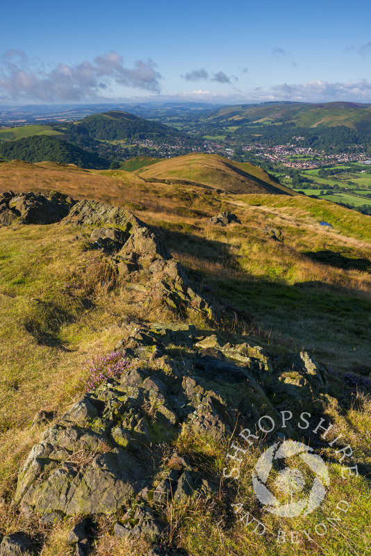 The view  from the summit of Caer Caradoc in the Stretton Hills, Shropshire.