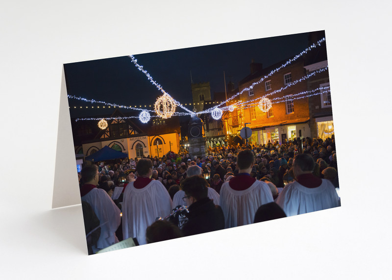 Carol singing in the Square, Much Wenlock, Shropshire.