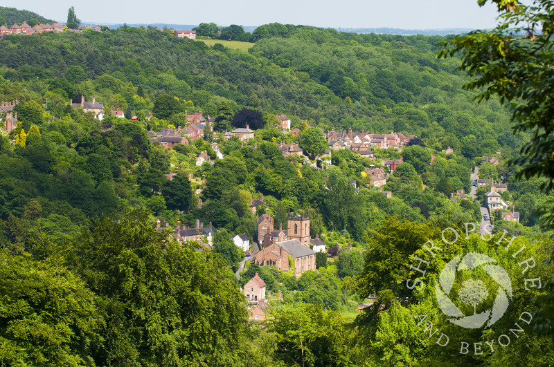 The town of Ironbridge nestling in the Ironbridge Gorge, Shropshire, England.