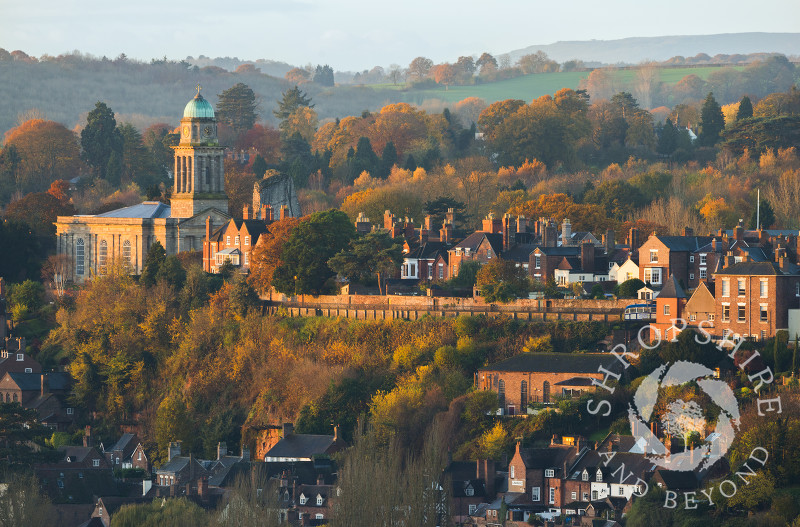 Early morning light on St Mary's Church and Castle Walk, Bridgnorth, Shropshire, in autumn, seen from High Rock.