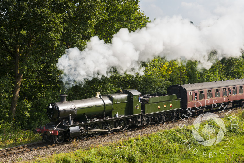 GWR 2857 steam locomotive approaches Highley Station,  Shropshire, during the Severn Valley Railway Autumn Steam Gala.