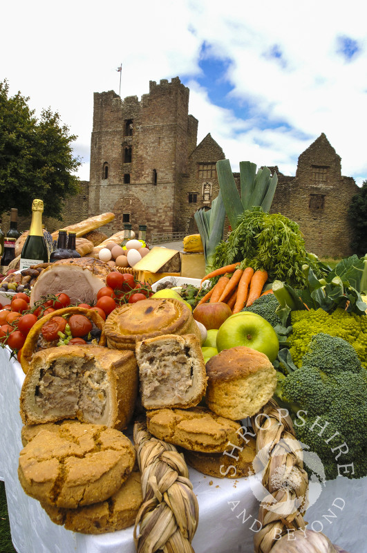 Produce on display in the grounds of Ludlow Castle during the Ludlow Food Festival, Shropshire, England.
