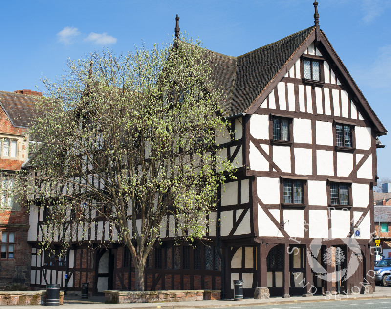 The 16th century Rowley's House in Barker Street, Shrewsbury, Shropshire, England.