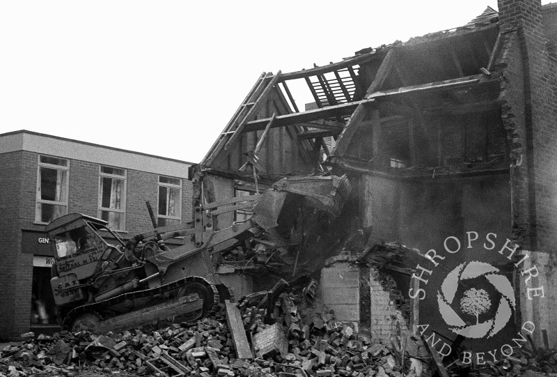 Buildings being demolished in Bradford Street, Shifnal, Shropshire, in 1966.