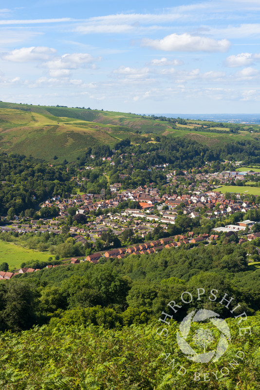 The town of Church Stretton, seen from Ragleth Hill, Shropshire.