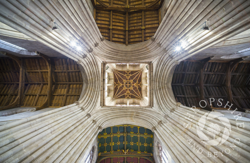 The ceiling of St Laurence's Church in Ludlow, Shropshire.