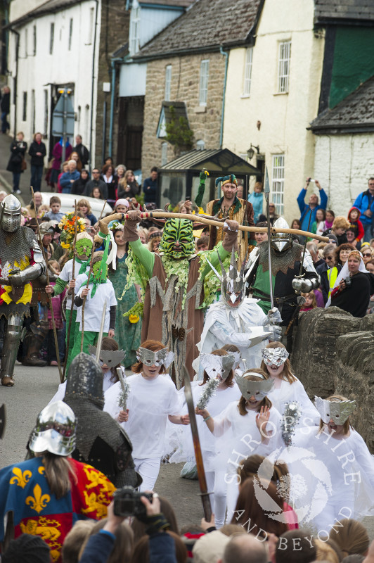 The Green Man vanquishes the Frost Queen at the Clun Green Man Festival, Shropshire.