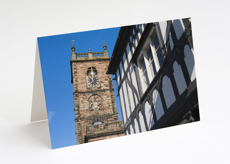 St Alkmund's Church and half-timbered building, Whitchurch, Shropshire.
