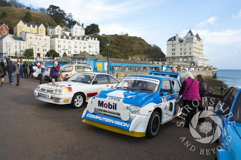 Cambrian Rally cars on the seafront at Llandudno, Wales.