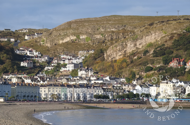 A view of the promenade and Great Orme at Llandudno, Conwy, Wales.