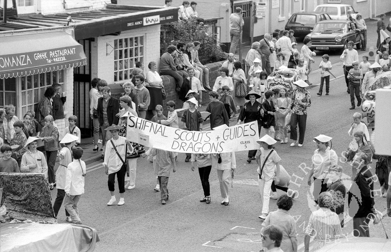 Shifnal Scouts and Guides take part in the carnival parade at Shifnal,  Shropshire, in June 1987.
