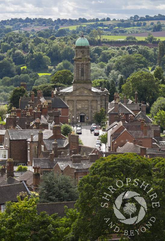 The view of St Mary's Church seen from the tower of St Leonard's Church, Bridgnorth, Shropshire.